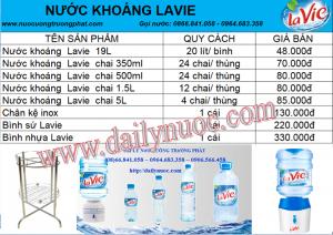Bảng giá nước khoáng Lavie