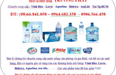 Đại lý nước uống bình 20l tại Tp.HCM